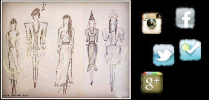 Grafik zu Mode im Social Web bei Facebook, Twitter, Youtube und Instagram