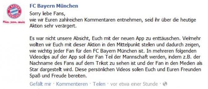 Grafik Facebook Entschuldigung FC Bayern Muenchen