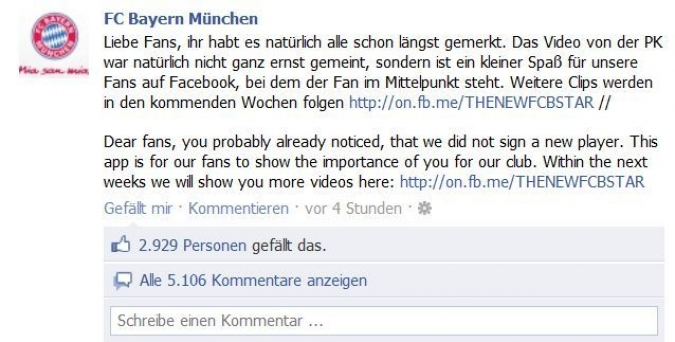 Grafik Facebook Posting FC Bayern Muenchen