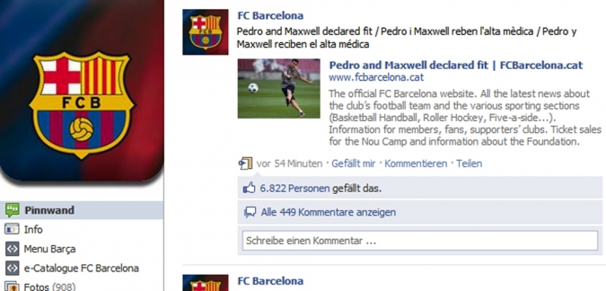 Grafik Facebook Auftritt FC Barcelona