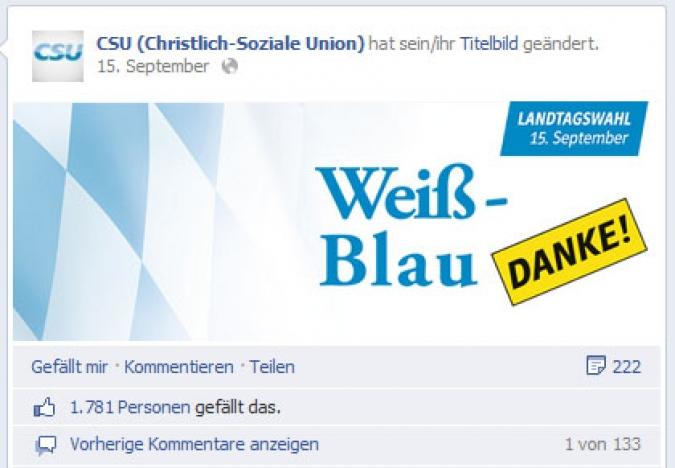 Facebook Page Analyse Parteien Wahlkampf 2013 Anzahl Fanwachstum csu