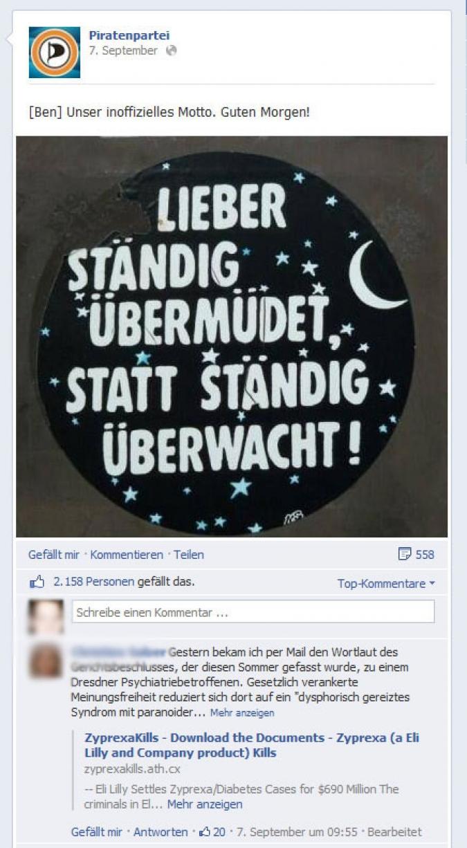 Facebook Page Analyse Parteien Wahlkampf 2013 Anzahl Fanwachstum Piratenpartei