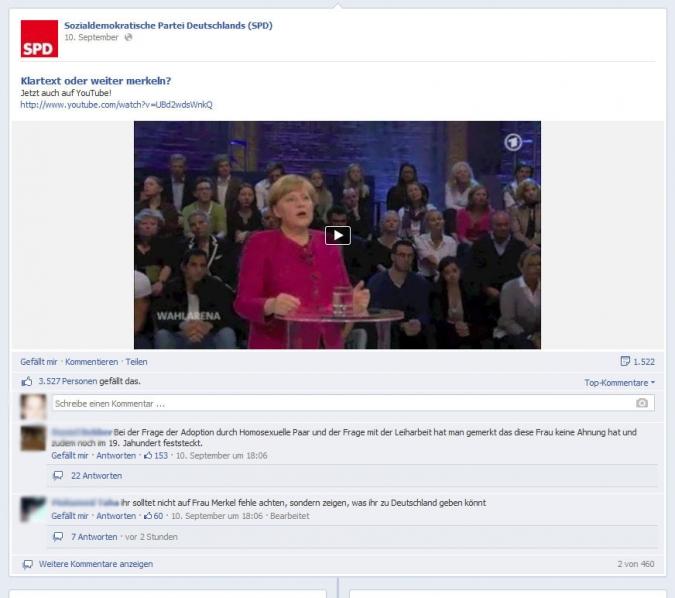 Facebook Page Analyse Parteien Wahlkampf 2013 Anzahl Fanwachstum spd