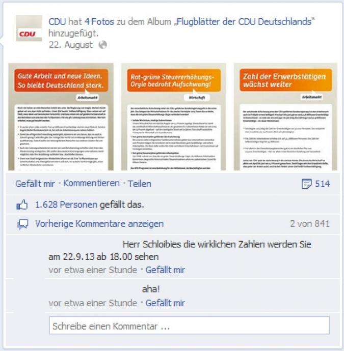 Facebook Page Analyse Parteien Wahlkampf 2013 Anzahl Fanwachstum  cdu