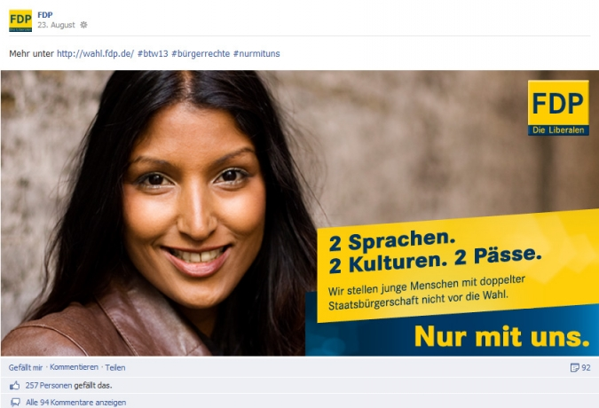 Facebook Page Analyse Parteien Wahlkampf 2013 Anzahl Fanwachstum fdp