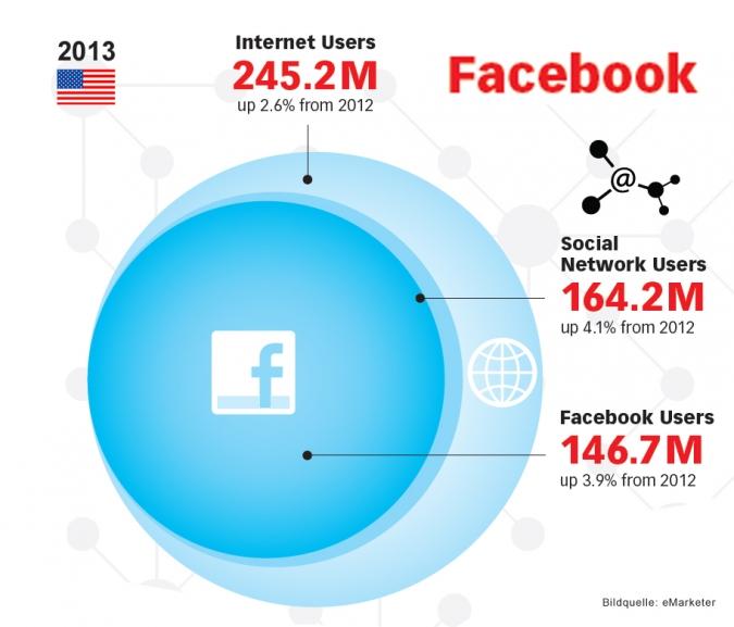 Grafik Facebook Wachstum USA 2013