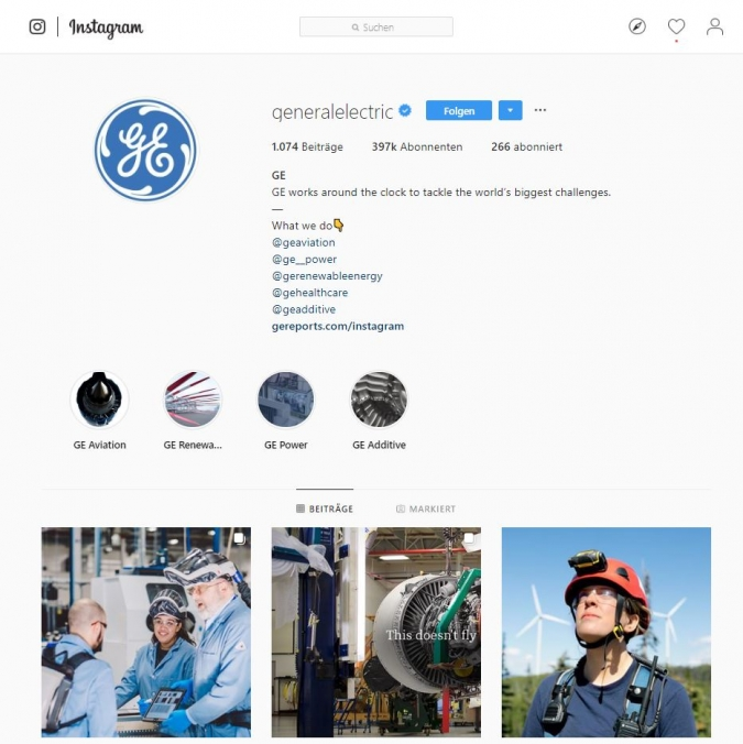 Die Kunst des Instagram Marketing von General Electric