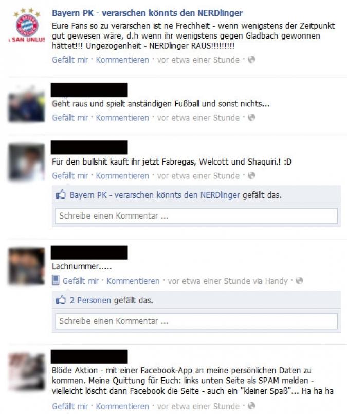 Grafik Reaktionen auf Facebook Kampagne FCB