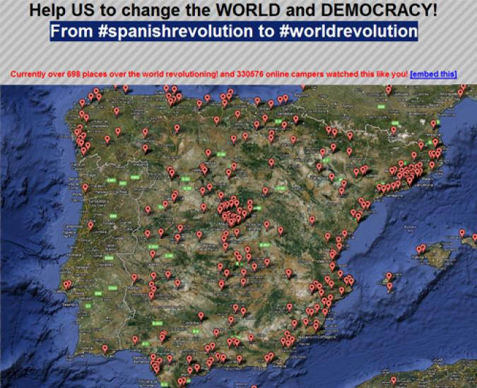 Grafik Spanische Revolution Landkarte