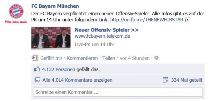Grafik Start Facebook Kampagne FCB