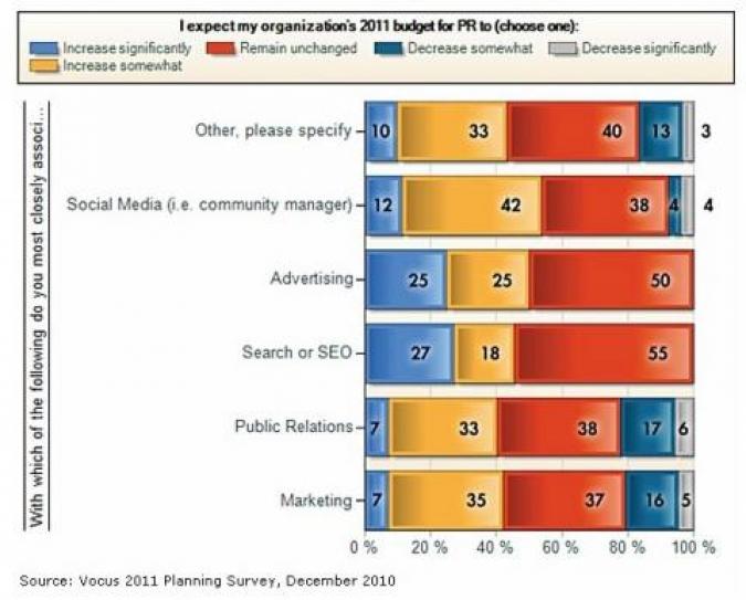Grafik Social Media Budgetverwendung